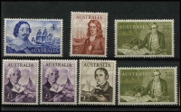 Lot 233 [3 of 4]:1914-70 Collection on leaves incl KGV to used 1/4d, 6d Kooka (MLH), 1931 Kingsford Smith (3), 6d Airmail, 1934 Vic Centenary 1/-, 1935 ANZAC 1/-, 1937-49 Robes 10/- & £1, 1959-64 5/- Cattle White paper, navigators incl £1 (2), (MUH), few MLH incl 1934 9d Macarthur, 1935 1/- ANZAC, 1936 SA Centenary (3), navigators £2, various decimals to 1970 also AAT 1966-68 Picts (11, used), few Nauru incl 1924-48 Ships 5/- & 10/- (CTO), Norfolk, & PNG. Generally fine. (100s)