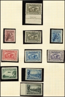 Lot 233 [1 of 4]:1914-70 Collection on leaves incl KGV to used 1/4d, 6d Kooka (MLH), 1931 Kingsford Smith (3), 6d Airmail, 1934 Vic Centenary 1/-, 1935 ANZAC 1/-, 1937-49 Robes 10/- & £1, 1959-64 5/- Cattle White paper, navigators incl £1 (2), (MUH), few MLH incl 1934 9d Macarthur, 1935 1/- ANZAC, 1936 SA Centenary (3), navigators £2, various decimals to 1970 also AAT 1966-68 Picts (11, used), few Nauru incl 1924-48 Ships 5/- & 10/- (CTO), Norfolk, & PNG. Generally fine. (100s)