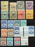 Lot 145 [3 of 5]:Revenue Stamps small accumulation from NSW to 5/- (2), 6/-, Qld few 'Adhesive Duty' to $4 some with security underprint, S.A, Tas, Vic few 'CATTLE' opts to 3/-, 1966 Stamp Duty various to $50, W.A. various 1966 to $1. Plus small collection of used Postage Dues to 5/-. Generally fine. (180+)