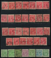 Lot 244 [1 of 2]:Varieties Selection incl Roos 1d (33), 9d (4), KGVI 1d Red (27), etc, many with variety lightly pencilled on the back of the stamp. Mixed condition. (82)