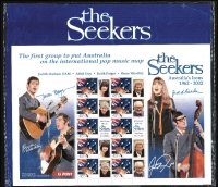 Lot 296 [2 of 4]:1998 Johnny O'Keefe-The Wild One ten numbered 'special events' souvenir presentation cards, 2000 Nature & Nation 45c Kangaroo sheetlet (2) with se-tenant labels for 'The Seekers' plus 6 sets of 2001 Parliament M/Ss FDC still in PO packaging. (18)