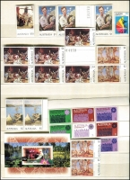 Lot 226:1980s-90s Accumulation in album incl 1971 Christmas block of 7, Paintings $4 (6), $5 (2), $10 Wetlands M/S, etc, Face Val $200. (100s)