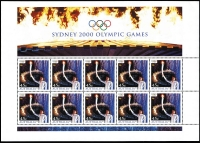 Lot 324 [1 of 2]:2000 Olympics (Sep-Oct) 72 sheetlets of 10 in varying quantities from 2 to 17, all with map of Australia at base, plus Opening Ceremony sheetlet of 10 (18). Face Val $400+. (900)