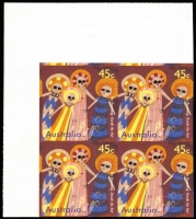 Lot 745:1997 The Dreaming 45c imperforate corner block of 4, very fine.
