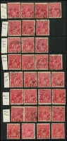Lot 196 [2 of 4]:1d Red Accumulation in album & on Hagners incl smooth paper, rough paper, shades, Die IIs (12), wmk inverted, varieties - many identified, few perf 'OS', few multiples, many dated examples, postmark interest, also 1d violet (16), 1d green (38) and a number of other KGV Heads. Mixed condition. (100s)