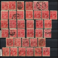 Lot 196 [3 of 4]:1d Red Accumulation in album & on Hagners incl smooth paper, rough paper, shades, Die IIs (12), wmk inverted, varieties - many identified, few perf 'OS', few multiples, many dated examples, postmark interest, also 1d violet (16), 1d green (38) and a number of other KGV Heads. Mixed condition. (100s)