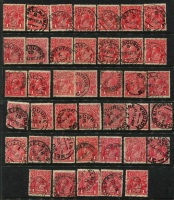 Lot 196 [1 of 4]:1d Red Accumulation in album & on Hagners incl smooth paper, rough paper, shades, Die IIs (12), wmk inverted, varieties - many identified, few perf 'OS', few multiples, many dated examples, postmark interest, also 1d violet (16), 1d green (38) and a number of other KGV Heads. Mixed condition. (100s)
