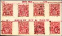 Lot 197 [3 of 3]:1d Red Accumulation on cards with many rough, smooth or semi-surfaced papers, shades incl rose-reds, orange red, rosine, brick red, brown-red group, carmine-red, dark red, scarlet aniline, etc, few perf 'OS', & selection of dated examples. Generally fine. (100s)
