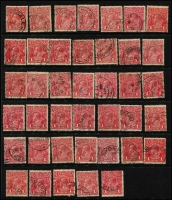Lot 197 [1 of 3]:1d Red Accumulation on cards with many rough, smooth or semi-surfaced papers, shades incl rose-reds, orange red, rosine, brick red, brown-red group, carmine-red, dark red, scarlet aniline, etc, few perf 'OS', & selection of dated examples. Generally fine. (100s)
