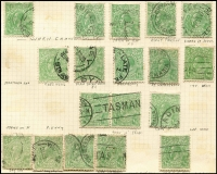 Lot 200 [2 of 3]:Accumulation incl ½d greens, 1d reds, 1½d browns, greens, reds. Many varieties indentified, shades, wmk inverted, some perf 'OS' issues. (100s)