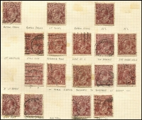 Lot 200 [3 of 3]:Accumulation incl ½d greens, 1d reds, 1½d browns, greens, reds. Many varieties indentified, shades, wmk inverted, some perf 'OS' issues. (100s)