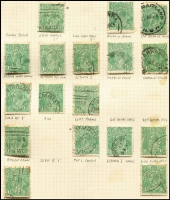 Lot 200 [1 of 3]:Accumulation incl ½d greens, 1d reds, 1½d browns, greens, reds. Many varieties indentified, shades, wmk inverted, some perf 'OS' issues. (100s)