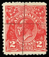 Lot 672:2d Red Postal Forgery with official manuscript defacing marks. Ceremuga certificate states gum is never hinged but slightly disturbed, BW #103cc, Cat $1,500.