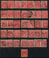 Lot 181 [2 of 3]:1d Red selection of inverted watermarks featuring 74 examples of Die 1 (many different & better shades, few perf 'OS' or 'OS/NSW'), and an example of Die II and Die III. (76)