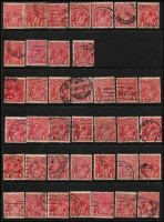 Lot 181 [3 of 3]:1d Red selection of inverted watermarks featuring 74 examples of Die 1 (many different & better shades, few perf 'OS' or 'OS/NSW'), and an example of Die II and Die III. (76)
