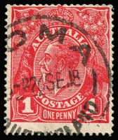 Lot 181 [1 of 3]:1d Red selection of inverted watermarks featuring 74 examples of Die 1 (many different & better shades, few perf 'OS' or 'OS/NSW'), and an example of Die II and Die III. (76)