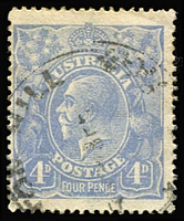 Lot 254:4d Blue Harrison Plates Watermark Inverted, BW #113aa, centred to left, Cat $1,000.
