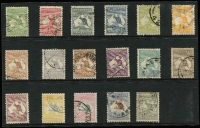 Lot 502 [2 of 2]:½d To £2 black & rose, simplified set with 5/-, 10/-, £1 grey & £2 black & rose CofA Wmk, £1 brown & blue 3rd Wmk. Minor blemishes. (18)