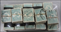 Lot 268:1/- Emerald-Green 1,450 in bundles of 100, some 3rd Wmk, perf 'OS' or 'OS/NSW'.