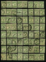 Lot 174:1st Wmk ½d Green possible postmark or variety interest. Mixed condition. (64)