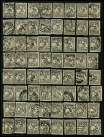 Lot 184:3rd Wmk 2d Grey Perf 'OS' possible postmark or variety interest. Mixed condition. (64)