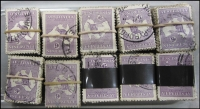 Lot 274:9d Violet 1,500 examples in bundles of 100, many 3rd Wmk, some perf 'OS'.