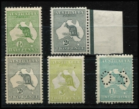 Lot 276 [2 of 2]:Collection incl 1st Wmk 1d, 2d grey marginal; 3rd Wmk 2d, 3d (paper flaw); SM Mult 1/- perf 'OS' (few pulled perfs); CofA 6d chestnut, top right corner unit variety retouched top frame with additional scratch from Broome to left BW#23(3)ia. (6 )