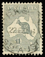 Lot 582:£1 Grey tidy datestamp. BW #54, Cat $450.