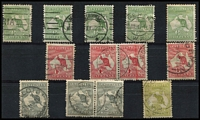 Lot 21 [2 of 2]:Inverted Watermark Selection incl ½d (5, incl one mint), 1d (5, incl pair), 2d (3, incl pair), 3d. Mixed condition. (14)