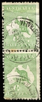 Lot 514 [1 of 2]:½d Green vertical pair & strip of 4, apparently from coil machines with multiple strikes of 'PENGELLY/22JA23/WESTN AUST' or 'CORRIGIN/6NO22/WESTN AUST'cds. Generally fine. (6)