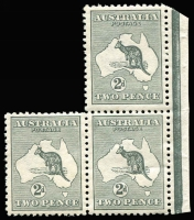 Lot 520:2d Grey a left pane interpanneau marginal irregular block of 3, two lower units very light hinge traces (one with small storage related bend), BW #5, Cat $350.