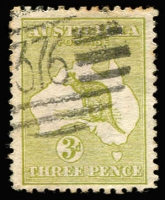 Lot 527:3d Olive Die I Watermark Inverted with fine barred numeral '376' of Buderim (Qld). Few toned perfs at top otherwise fine. BW #12a.