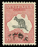 Lot 572:£2 Grey & Rose Crimson with Nick out of Kangaroo's back. Very fine used. BW #57.