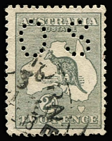 Lot 284 [1 of 2]:Watermark Inverted 2d grey selection. Ten examples including one with perf 'OS', condition variable, generally sound, Cat $600. (10)