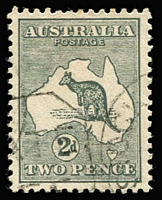 Lot 283 [2 of 2]:Watermark Inverted 2d grey & 3d olive, fine used, Cat $210. (2)
