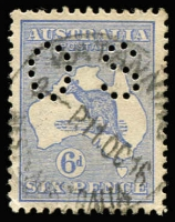 Lot 575:6d Blue Die II Watermark Inverted perf 'OS', BW #19a, well centred, fine used, Cat $275.