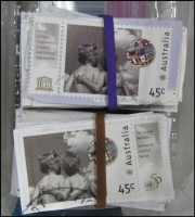 Lot 251:1995 United Nations 45c BW #1529 unusually with tabs intact at left (100) or at right (100).