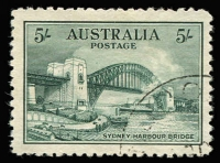 Lot 682:1932 5/- Sydney Harbour Bridge well centered, CTO, no gum. BW #148w, Cat $300.