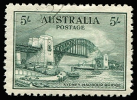 Lot 683:1932 5/- Sydney Harbour Bridge CTO, well centred, without gum. BW #148w, Cat $300.