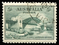 Lot 696:1932 5/- Sydney Harbour Bridge well centred, CTO with gum. BW #148w, Cat $300.