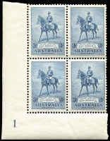 Lot 685:1935 Silver Jubilee 3d lower left Plate no. 1 block of 4 with Apostrophe between 'GEORGE' and 'V' variety. BW #167zb, Cat $120.