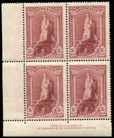 Lot 889:1938-49 Robes imprint blocks of four (2, one with tinted paper). BW #213z,za, Cat $250. (2 blocks)