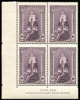 Lot 697:1938-49 Robes Thick paper 10/- 'ASH' imprint block of 4.