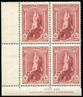 Lot 695:1938-49 Robes thick paper 5/- imprint blocks of 4 (2), one with extended perfs into margin. BW #212z, Cat $300. (2 items)