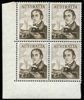 Lot 710 [1 of 2]:1963-64 Navigators 4/- to £2 in lower left corner blocks of 4, (10/- & £1 are cream paper), plus £1 white paper corner block of 4, BW #404-09, Cat $1,000+. (28)