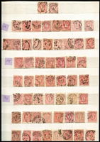 Lot 421 [3 of 4]:1850s-1900s Accumulation in stockbook incl few 1850s Arms, many 1874-80 sorted by perforations with issues to 50k, shades, etc, range of Shields, Franz Joseph issues, few perfins. Much postmark interest. Condition is very mixed. (100s)