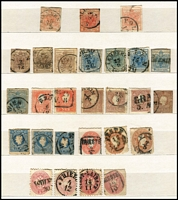 Lot 421 [1 of 4]:1850s-1900s Accumulation in stockbook incl few 1850s Arms, many 1874-80 sorted by perforations with issues to 50k, shades, etc, range of Shields, Franz Joseph issues, few perfins. Much postmark interest. Condition is very mixed. (100s)