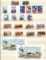 Lot 402 [1 of 2]:1965-90s Accumulation in Chinese stockbook with 1977-78 Visitors (2 sets ), 1987 Wildlife (17), 1990 Abbot's Booby (4 & M/S), 'NZ '90 Bird M/Ss, 1991 Mining Lease (strip of 5), Police Force (4 & M/S), range of later M/Ss & 'Year of....' issues, 1995 Fish (9), 1998 Marine Life sheetlet (2, one MUH, one CTO), mostly issues CTO. Some toning on earlier issues. Also few packs. (Few 100)