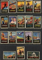Lot 142:Australia: 1934-35 Victorian & Melbourne Centenary multi-coloured labels (20 different), also Australia's 150th Anniversary Celebration labels (15). Mixed condition. (35)
