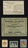 Lot 145 [2 of 3]:World Accumulation: incl Australia with 1929 Parcel Post label 'used', Western Australia c1900 Busselton Tea Rooms Raffle ticket, Canada, GB 1914 Red Cross label, Dan Dare labels, New Zealand, US Boystown labels, many anti-TB labels incl South Africa, few matchbox labels, etc. Mixed condition. (100s)